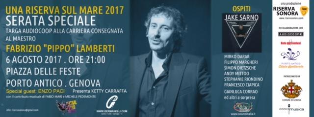 Targa AudioCoop, il 6 agosto al Porto Antico Estate Spettacolo al Maestro Fabrizio Lamberti, consegnata da Riserva Sonora e AudioCoop